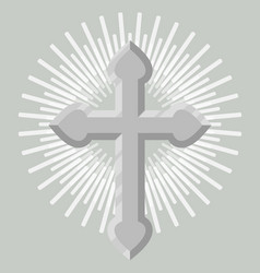 Silver catholic crucifix icon isolated vector