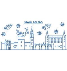 Spain toledo winter city skyline merry christmas vector