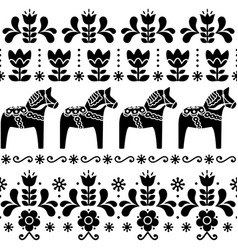 Swedish dala horse pattern scandinavian design vector