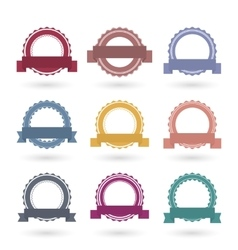 Templates round emblems with ribbons vector image