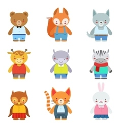 Toy Kids Animals In Clothes vector image