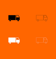 Truck black and white set icon vector