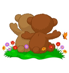 Two teddy bears cartoon sitting in the garden with vector image vector image
