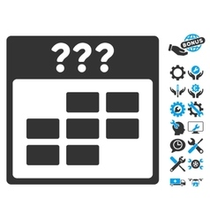 Unknown month calendar grid icon with bonus vector