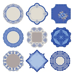 Victorian tags and frames - porcelain vintage set vector