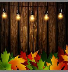 Wooden wall with autumn leaves vector