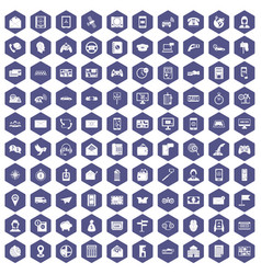 100 telephone icons hexagon purple vector