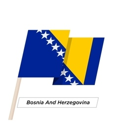 Bosnia and herzegovina ribbon waving flag isolated vector