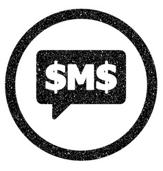 Sms bubble rounded icon rubber stamp vector