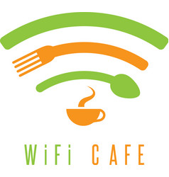 Wi-fi cafe simple with cup of coffeespoon and fork vector