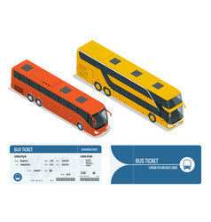 Isometric realistic bus and boarding pass ticket vector