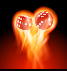 Two red dice in fire vector