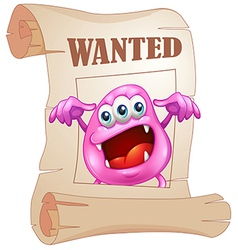 A pink monster in a wanted poster vector