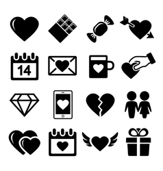 Valentine day love icons set vector