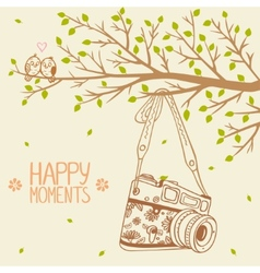 camera and tree vector image