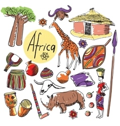 Set of tourist attractions africa vector