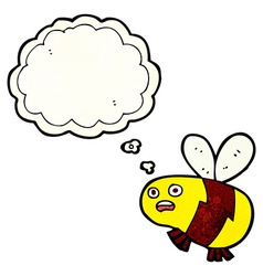 Cartoon bee with thought bubble vector