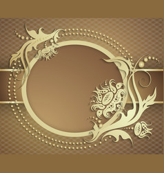 Elegant golden frame banner luxury floral vector