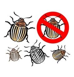 Colorado potato beetle and prohibition sign vector