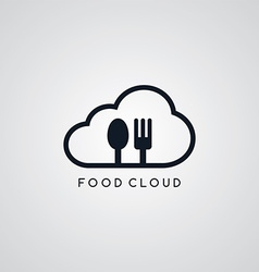 Food cloud fork spoon theme vector
