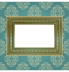 Golden empty frame on the wall for your art vector