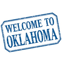 Oklahoma - welcome blue vintage isolated label vector