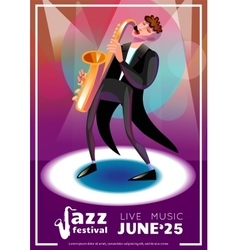 Jazz festival cartoon poster vector
