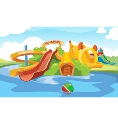 Water slides in an aquapark vector