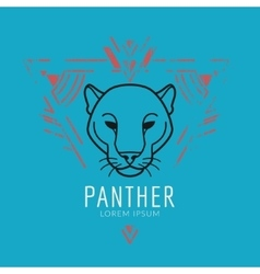 Panther head logo in frame vector