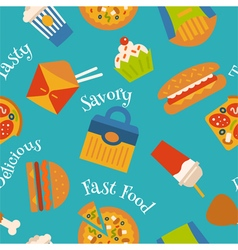 Seamless pattern with fast food symbols vector