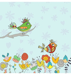 background with flower and bird vector image vector image
