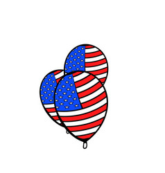 balloons in the usa flag colors icon cartoon vector image vector image