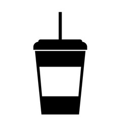 Black icon disposable coffee cup vector