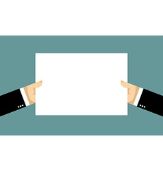 Businessman hands and billboard Two hands hold vector image