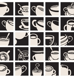 Collection coffee and tea cup vector
