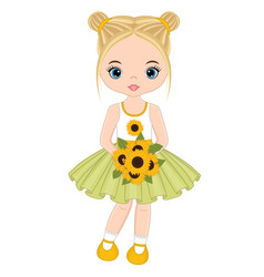 cute little girl with sunflowers vector image vector image