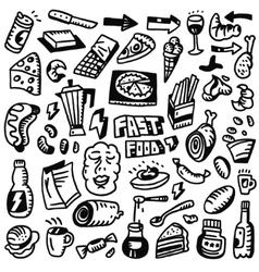 Fast food doodles set vector image