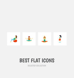 Flat icon pregnancy set of mother lady vector