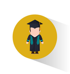 Graduate student cap and gown vector