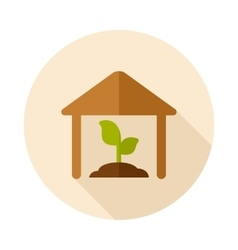 Greenhouse flat icon with long shadow vector