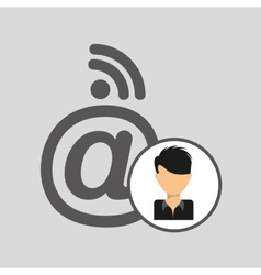 Guy cartoon wifi mail vector