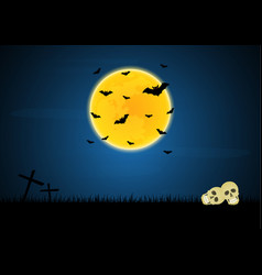 halloween skull graveyard cross moon bat vector image vector image