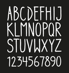 hand drawn letters and numbers font vector image vector image