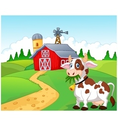 Happy cartoon cow vector