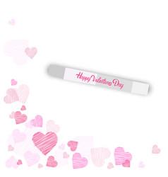 Happy valentine day background sketch pink heart vector