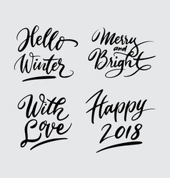 hello winter and happy new year handwriting callig vector image
