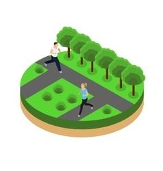 Jogging in the park isometrics vector