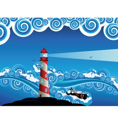 Lighthouse and boat in the sea8 vector