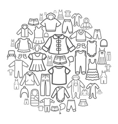Line icons of children clothing vector