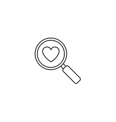 magnifier with heart line icon love searching vector image
